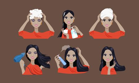 hair care with various means of care  イラスト・ベクター素材