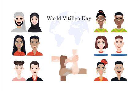set with various people with vitiligo disease associated with world vitiligo day