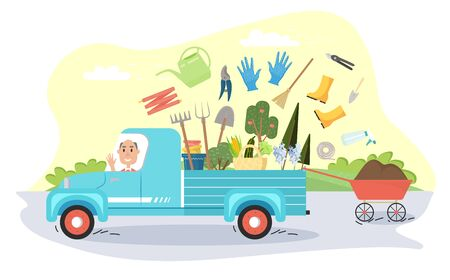 a man goes to the garden and carries with him various garden tools and seedlings Stock Illustratie
