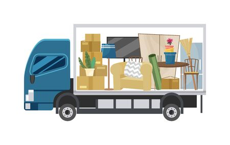 a cargo truck that shows various household items and appliances