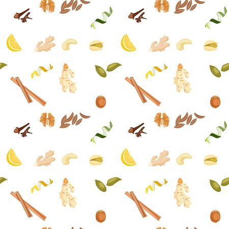 seamless Wallpaper with a picture of spices, nuts and peel of citrus