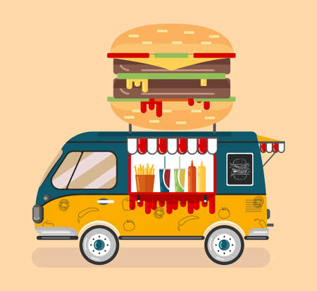 a green-and-yellow Burger van, a convenience store on wheels 向量圖像