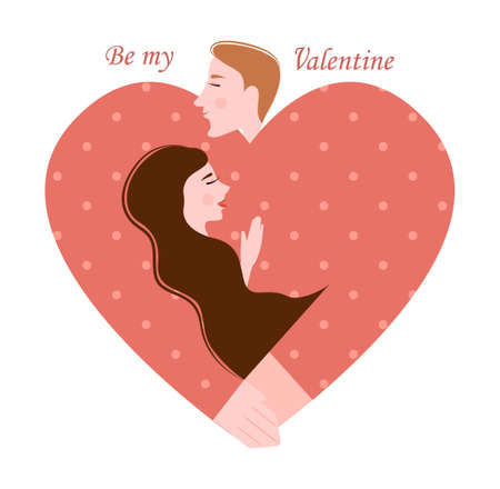Image of a man and a woman in the shape of a heart, dedicated to the day of St. valentine
