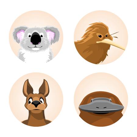 platypus: set of avatars Australian animals. funny cartoon of koala, kiwi, kangaroo, platypus. vector illustration Illustration