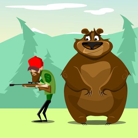 huntsman: Hunter in woods hunting for bear. vector. flat illustration Illustration