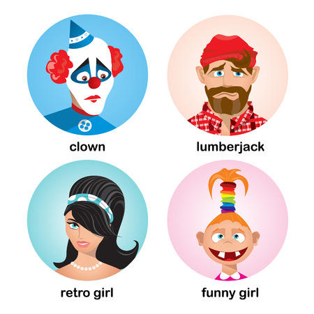 scrunchie: People avatars collection. Flat character design icon set. Vector illustration