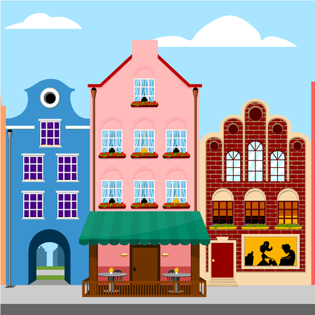 case colorate: Colorful houses. Europe city street. Vector illustration.