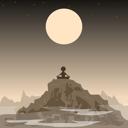 man on the moon: meditating man on the background of the moon and mountains