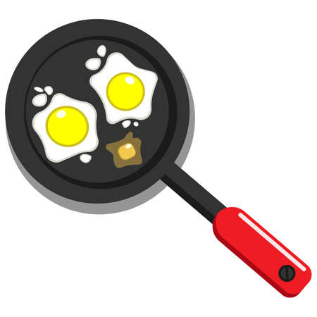 Fried eggs in a pan or omelet and cooking icon isolated white background. eps 10 vector.