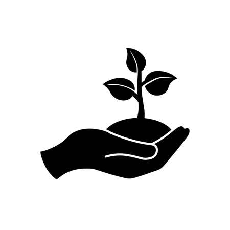 Hand holding seedlings with leaves or palm with sprout, ecology icon in black on an isolated white background