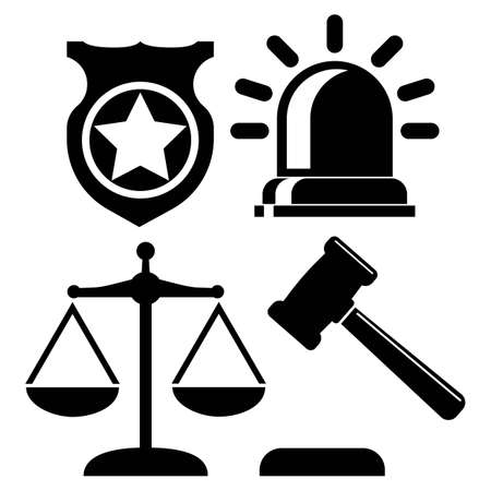 Justice, court, law order, police set icons in black color isolated on white background vector