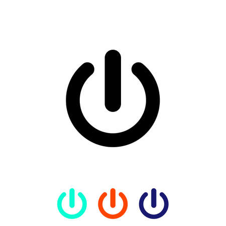 Shut down button or power on off vector. Simple, flat design for web or mobile app icon set in modern colour design concept on isolated white background