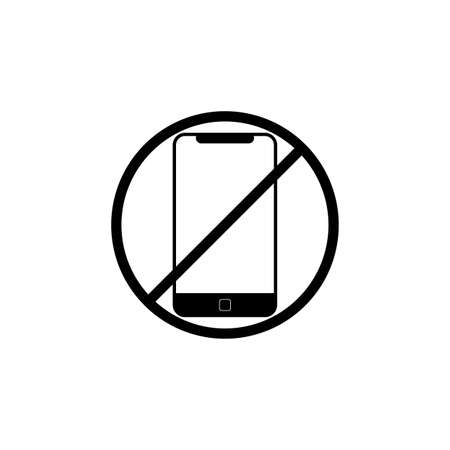 No cell phone sign or don't ring or turn off the phone icon in black on an isolated white background