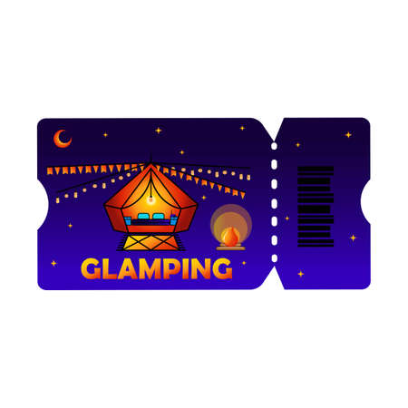 Glamping or camping ticket with tent icon and light bulb in colored colors, isolated phantom blue background. Comfort, wifi Ilustração