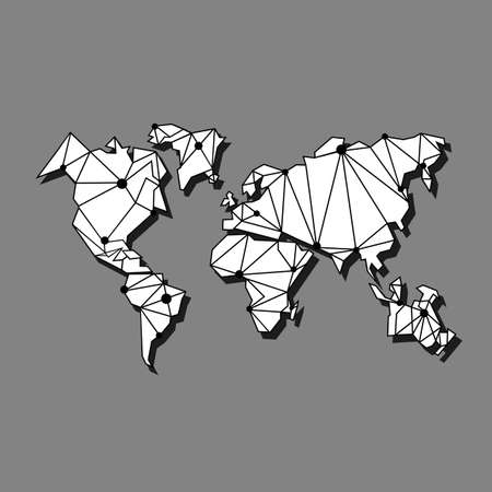 world map with shadow or all continents flat illustration on isolated gray background