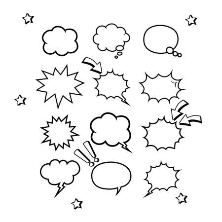 Retro empty comic bubbles or speech and thought set icon in white color on an isolated white background. Pop art style, vintage design Vettoriali