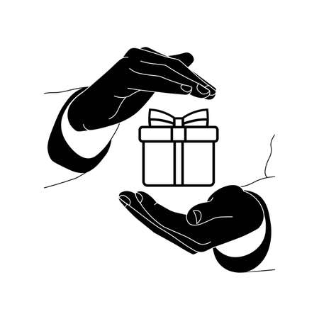 Hands holding a gift or present icon flat logo in black and white on isolated white background