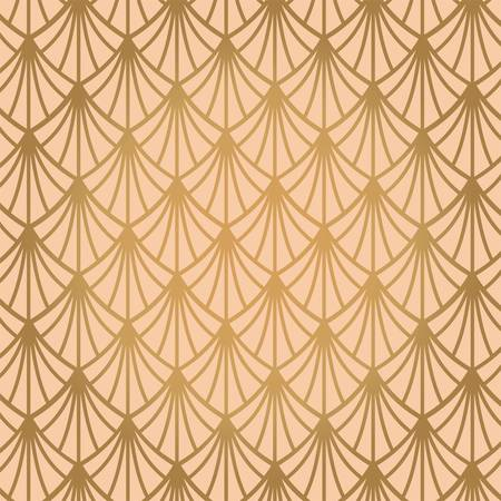 Art deco seamless pattern in gold color on an isolated or gold exclusive background