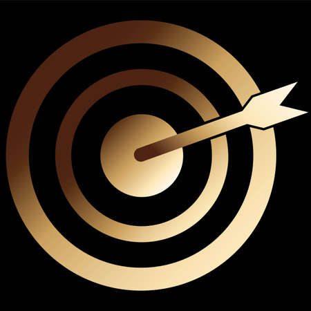 target arrow icon in gold color isolated on black background. EPS 10 vector
