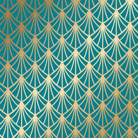 Art deco seamless pattern in gold color on an isolated dark turquoise background or gold exclusive background