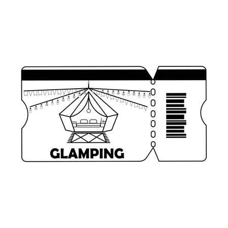 Glamping or camping ticket with tent icon and light bulb in black colors, isolated white background. Comfort, wifi Ilustração