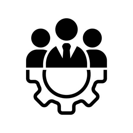 Teamwork management icon or business team or partnership icon in black on an isolated white background. The staff of the organization or the head of the company. EPS 10 vector