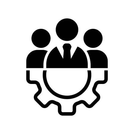 Icône de gestion du travail d'équipe ou équipe commerciale ou icône de partenariat en noir sur fond blanc isolé. Le personnel de l'organisation ou le chef de l'entreprise. vecteur EPS 10