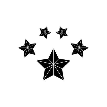 Product ratings five stars, premium icon flat logo in black on isolated white background