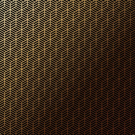Art deco seamless pattern in gold color on an isolated black background or gold exclusive background
