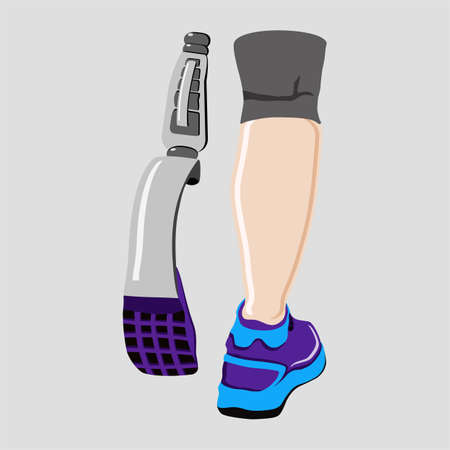 Para-athlete, prosthesis, running, sport flat illustration on isolated colored background. EPS 10 vector