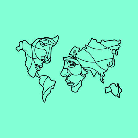 World map with faces icon in white on an isolated turquoise color background. EPS 10 vector