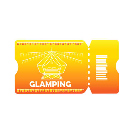 Glamping or camping ticket with tent icon and light bulb in colored colors, isolated orange background. Comfort, wifi