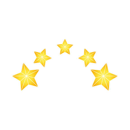 Product ratings, five stars or golden star, quality rating, feedback, premium icon flat logo in yellow on isolated white background