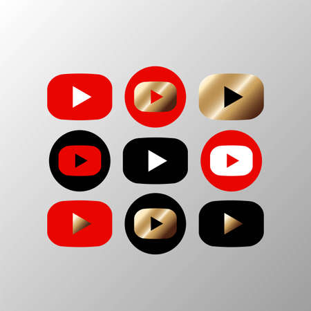 Media player button icon set in black red gold color on an isolated white background. EPS 10 vector