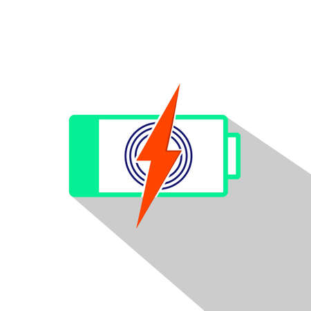 Power battery or charge symbol, electricity, energy sign. Simple, flat design for web or mobile app flat icon in modern colour design concept on isolated white background Ilustração