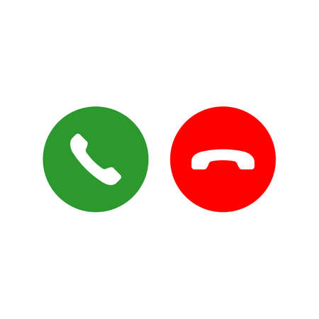 Accept and decline call or red and green yes no buttons with handset silhouettes icon. Call answer on isolated white background. EPS 10 vector