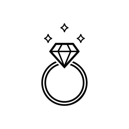Wedding or diamond engagement ring symbol in outline style icon flat in black on isolated white background. EPS 10 vector Ilustração