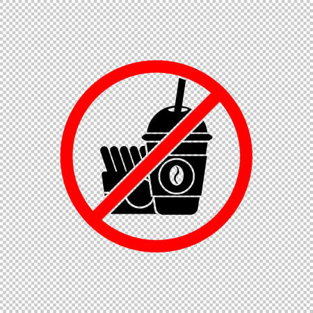 No fast food sign or no eating icon flat in black and red. Forbidden symbol simple on isolated background. EPS 10 vector Vettoriali