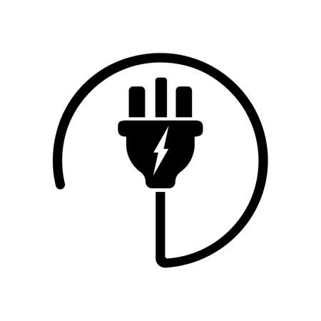 Power plug or uk electric plug, electricity symbol icon in black. Forbidden symbol simple on isolated white background. EPS 10 vector