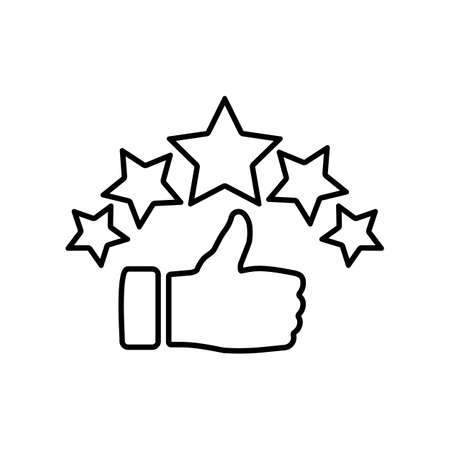 Product ratings five stars, quality rating, feedback, premium icon flat logo in black on isolated white background. EPS 10 vector.