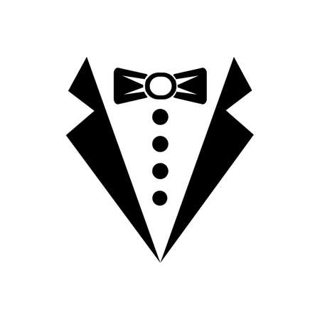 Tuxedo or butler sign icon vector logo design black symbol isolated on white background. Vector EPS 10.