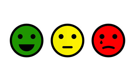 Emotion feedback scale. Smile, emoji or faces with emotions of joy, neutral and sadness of satisfaction. Set of emoticon icons. Illustrations of facial expressions on white background. Vector EPS 10.
