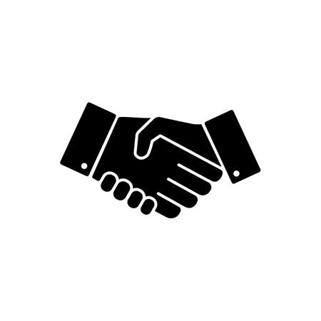 Handshake, hands, partnership icon vector logo design black symbol isolated on white background. Vector EPS 10.