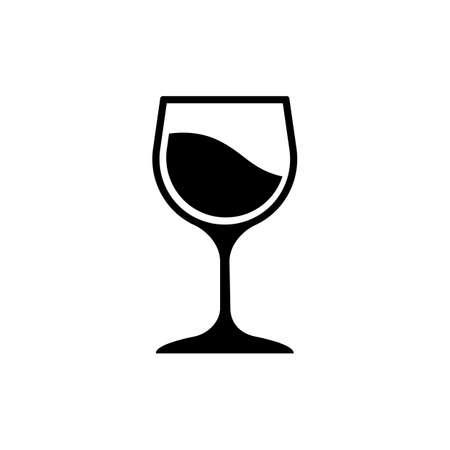 Glass of wine icon logo design black symbol isolated on white background. Vector EPS 10 Logo