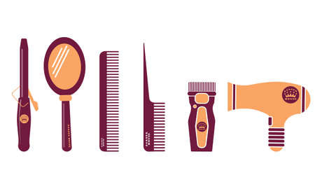 Hairdresser and barber shop flat icon set. Beauty salon. Comb, mirror, scissors, curling iron, clipper design symbol on a white background. Vector eps 10