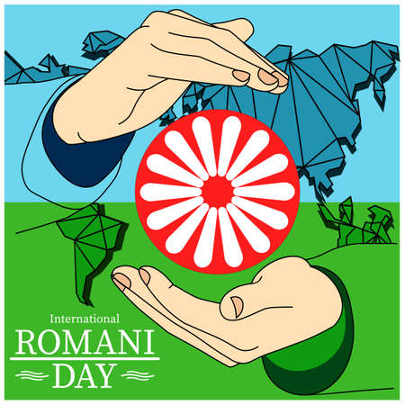 International Romani Day banner flag and wheel inscribed in the inscription holding hands icon flat in modern colour design concept on isolated white background. EPS 10 vector