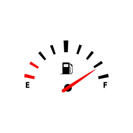 Fuel indicators gas meter or car, gas tank icon in black simple design on an isolated background. EPS 10 vector.