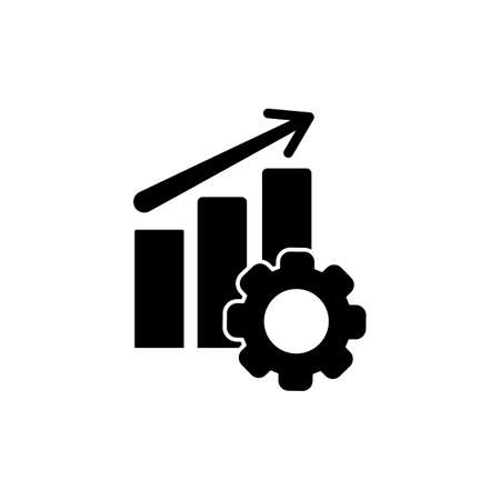 Performance icon, chart, progress, up arrow and gear in black simple design on an isolated background. EPS 10 vector Vecteurs