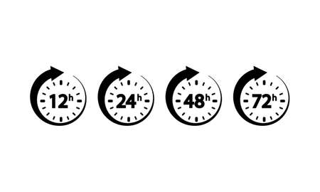 12, 24, 72, 48 hours clock icon set on an isolated white background.