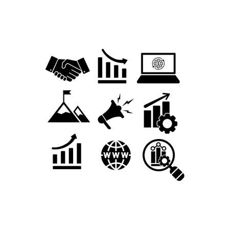 Web marketing, statistics, business, charts, collaboration icon set in simple design on an isolated background. EPS 10 vector